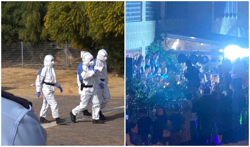 עשרות חרדים חוגגים חתונה בניגוד להנחיות, צוות המשטרה המיוחד לטיפול במפירי צו הבריאות (צילומים: פרטי, דוברות המשטרה)