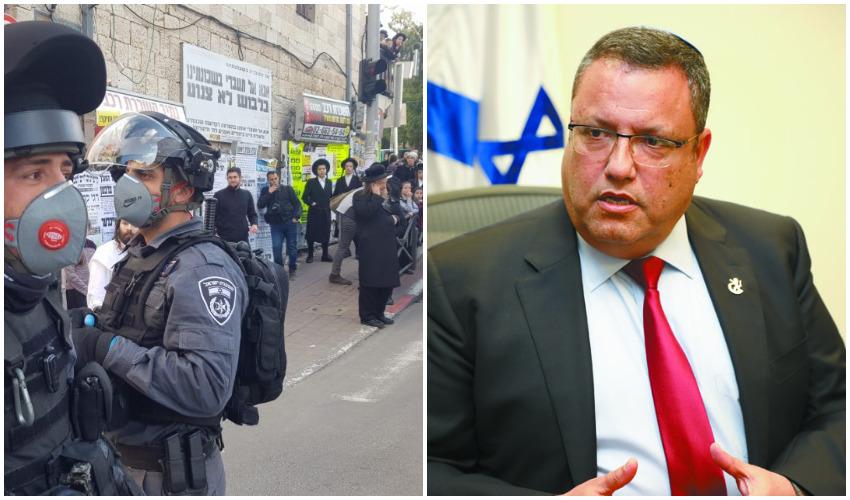 ראש העיר משה ליאון, משטרת ירושלים במאה שערים (צילומים: שלומי כהן, דוברות המשטרה)