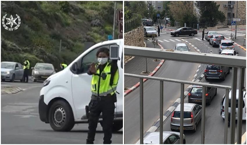 היציאה משכונת גבעת מרדכי, מחסום משטרתי (צילומים: בתחן אכדרי, דוברות המשטרה)
