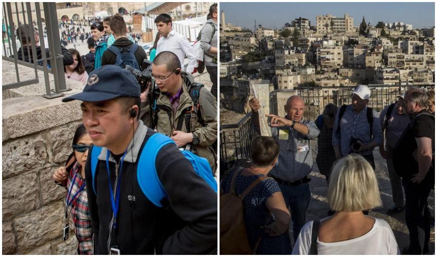 תיירים בירושלים (צילומים: אמיל סלמן, אוליבייה פיטוסי)