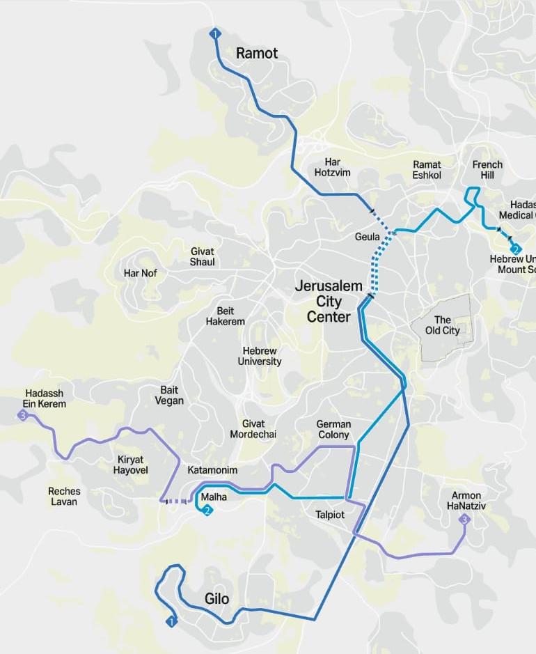 מפת קווי הרכבת הקלה - הסגול, הכחול והתכלת (קרדיט: צוות תוכנית אב לתחבורה)