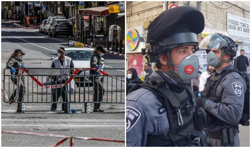שוטרים במאה שערים השבוע, אכיפת הסגר על בני ברק (צילומים: דוברות המשטרה, מגד גוזני)