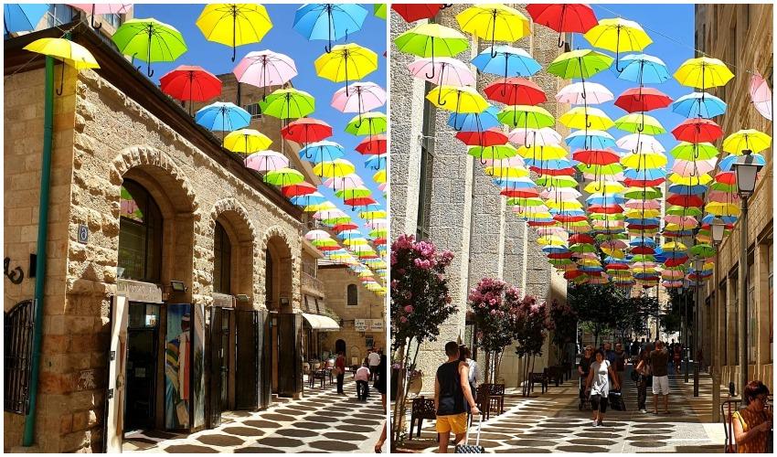 רחוב יואל משה סולומון עם מיצג המטריות הצבעוניות (צילום: מינהל קהילתי לב העיר)