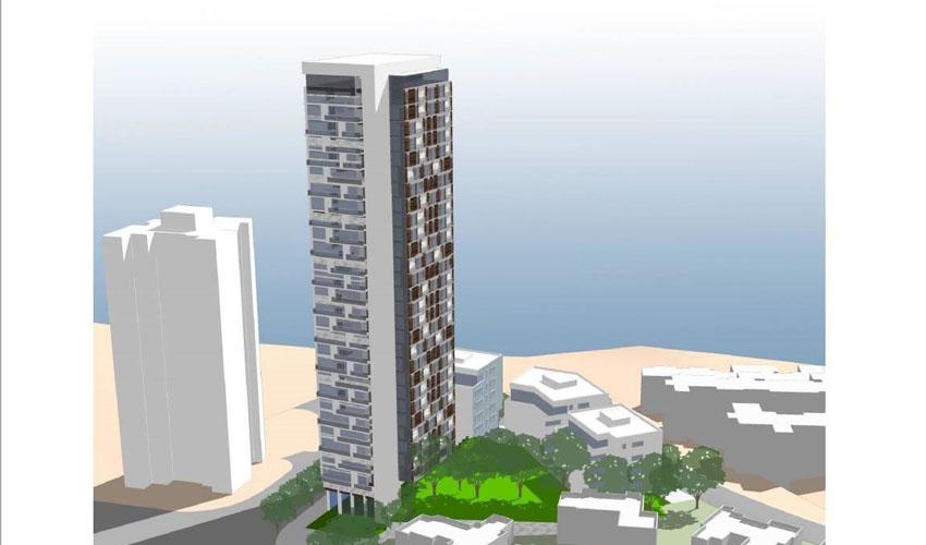 המגדל ברחוב בורוכוב - מבט מכיוון צפון מערב מרחוב הנטקה (הדמיה: אדריכלית עמה מליס)