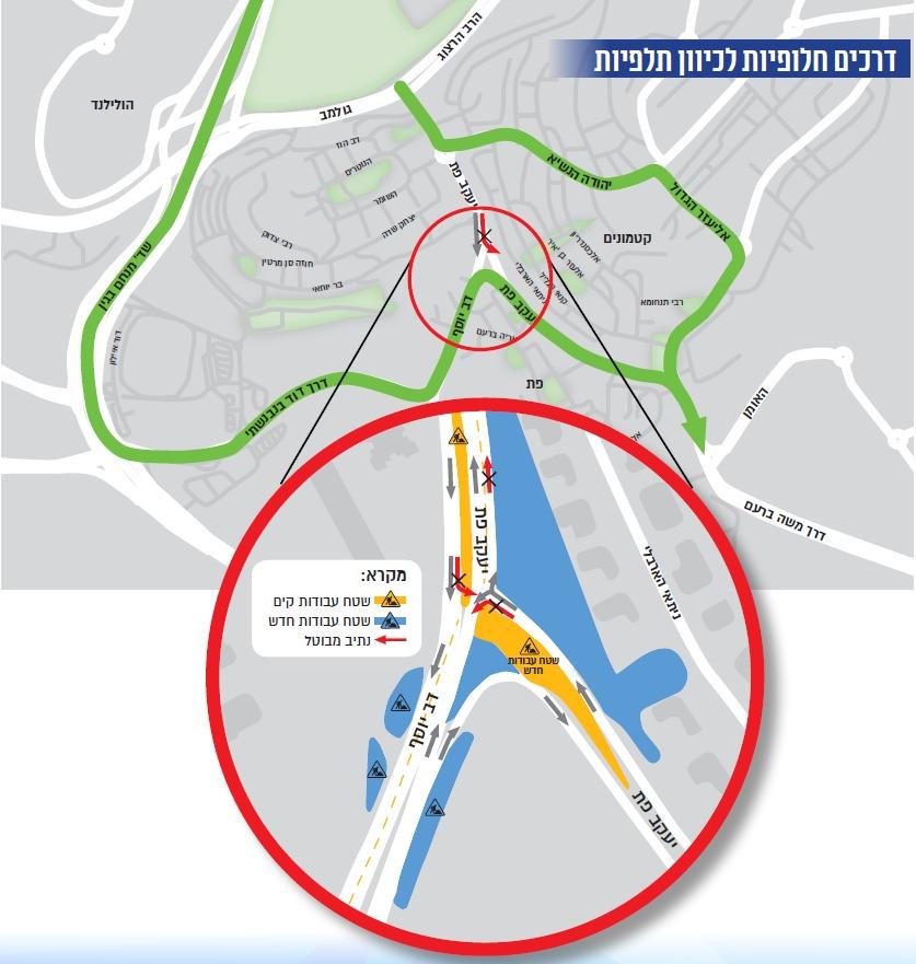 עבודות בצומת פת ורחוב דב יוסף (קרדיט מפה: צוות תוכנית אב לתחבורה)