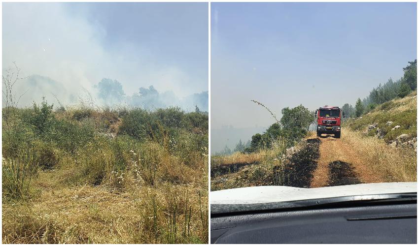 שריפת החורש הטבעי בסמוך לקרית יערים (צילומים: כבאות והצלה ירושלים)