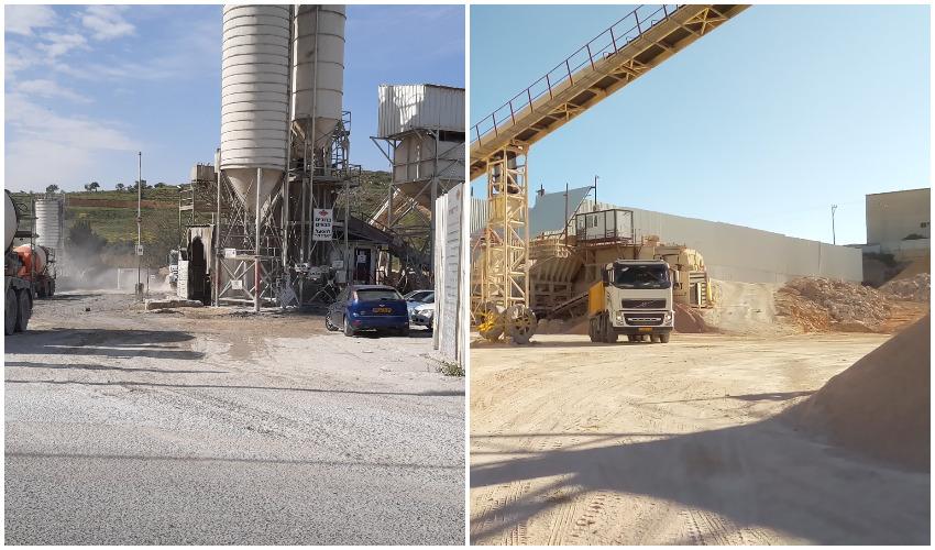 מטמנת זמורה (מימין), מפעל הבטון של רדימיקס (צילומים: יואב גואל - המשרד להגנת הסביבה)