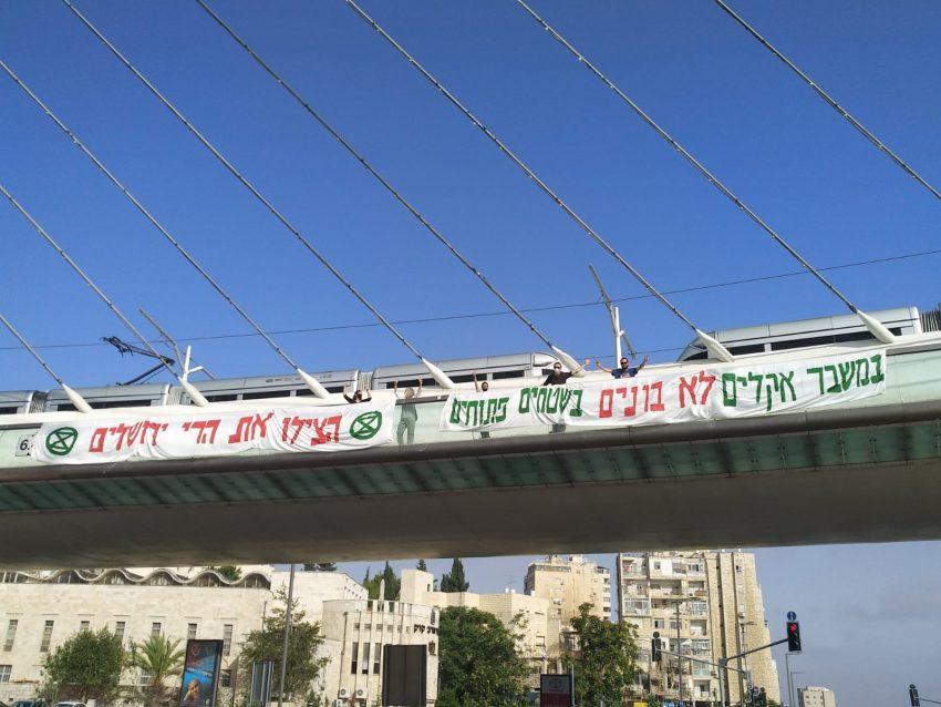 המחאה היום בגשר המיתרים (צילום: יצחק מנדל, מתנועת המרד בהכחדה (XR))