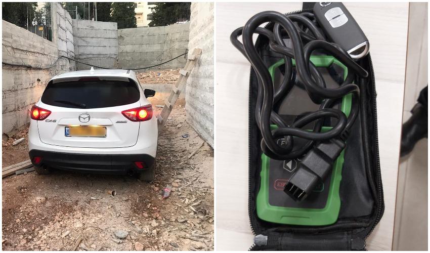 הרכב שאותו ניסו לגנוב החשודים, ציוד הפריצה (צילום: דוברות המשטרה)