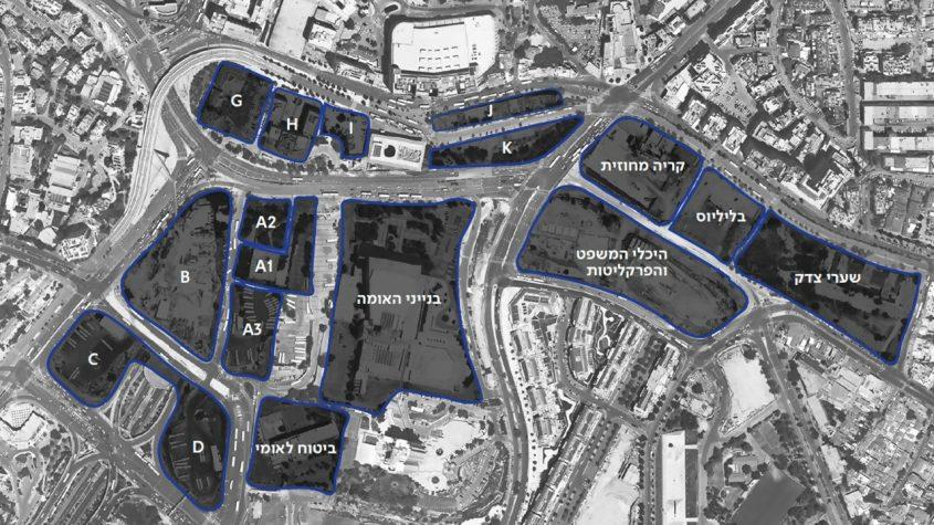 תצלום מהאוויר של פרויקט הכניסה לעיר (הדמיה: TOPOTEK 1, חברת עדן)