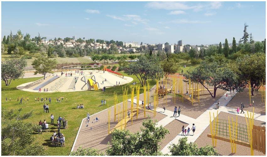 הדמיית פארק האסבסטונים (צילום הדמיה: הרשות לפיתוח ירושלים)