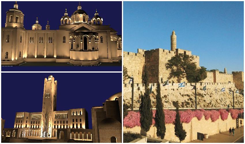 """חומות העיר העתיקה, הדמיית הארת מבנים בעיר העתיקה (צילום: קק""""ל. הדמיות: הרל""""י)"""