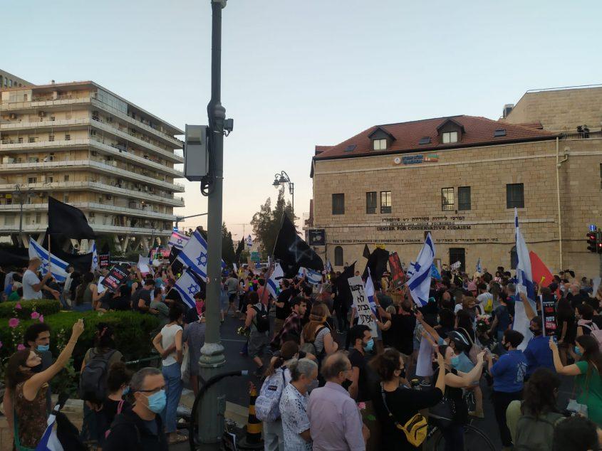 מחאת המסעדנים מול בית ראש הממשלה בבלפור (צילום: שלומי הלר)