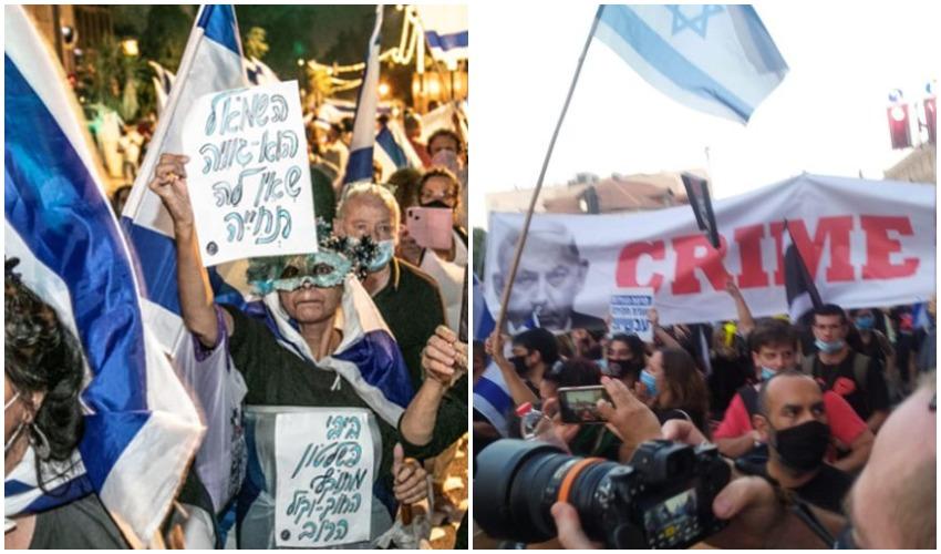 ההפגנה בבלפור בשבוע שעבר, תומכי נתניהו בירושלים בשבוע שעבר (צילומים: תומר אפלבאום, שלומי הלר)