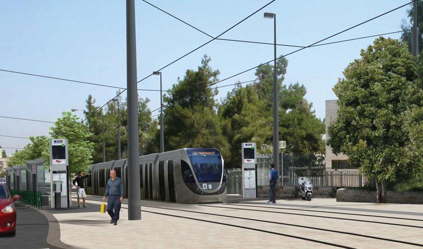 הקו הירוק של הרכבת הקלה ברחוב שרגאי - מעלות דפנה-רמת אשכול (הדמיה: צוות תוכנית אב לתחבורה)