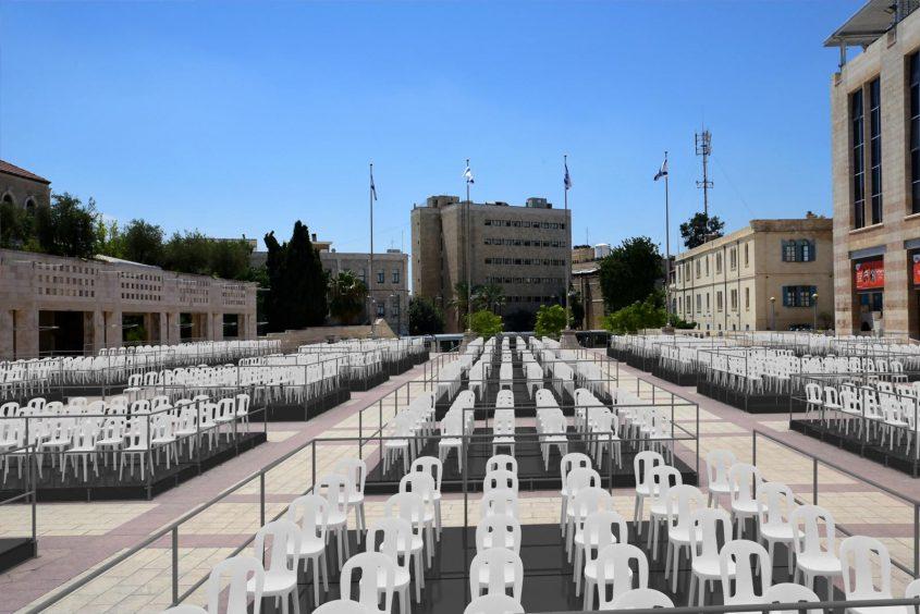קפסולות למופעי תרבות בכיכר ספרא (צילום: יוני קלברמן; הדמיה: גל אסא)