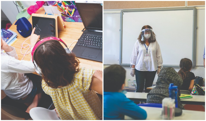 כיתה בעידן הקרונה, תלמידות לומדות בזום (צילומים: עופר וקנין, אייל טואג)