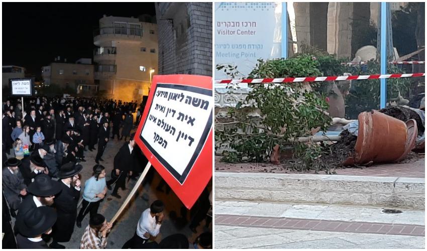 חלק מההרס בכיכר ספרא, ההפגנה אמש (צילומים: שלומי טריכטר, לך ירושלים)