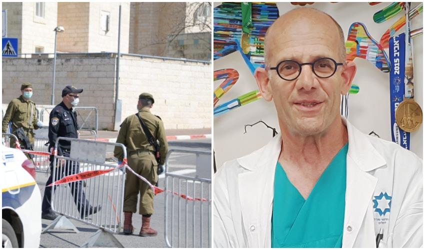 פרופ' עופר מרין, אכיפת סגר הקורונה (צילומים: דוברות שערי צדק, דוברות המשטרה)