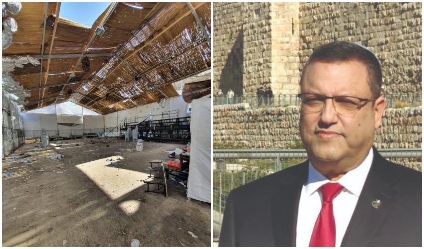 ראש העיר משה ליאון, סוכת הענק שהוקמה אתמול במאה שערים (צילומים: דוברות העירייה, ניר גונטז', הארץ)