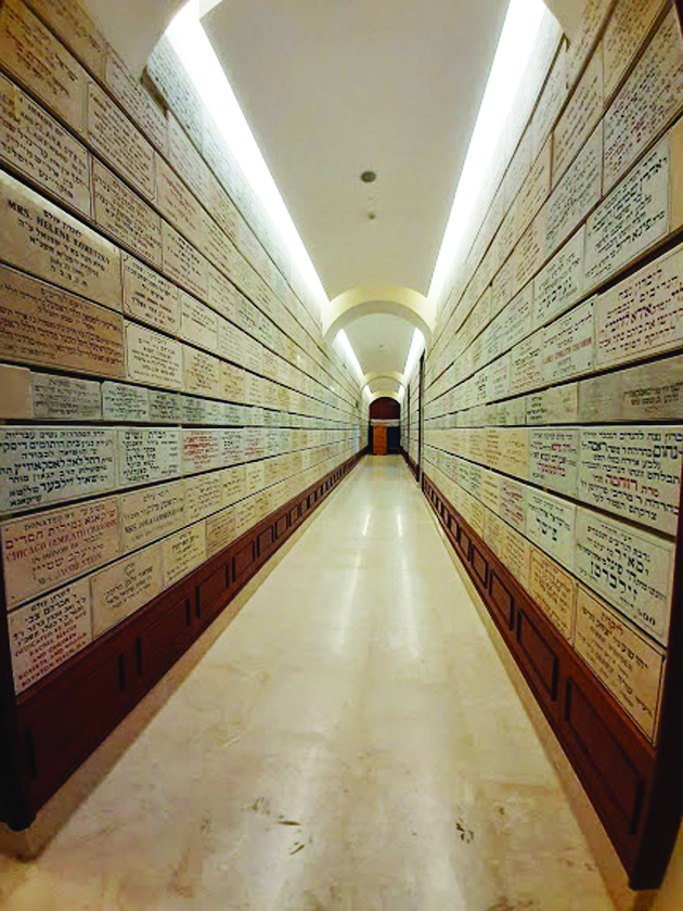 """מסדרון עם לוחות ההנצחה של התורמים לדיסקין (צילום: ד""""ר אדם אקרמן)"""