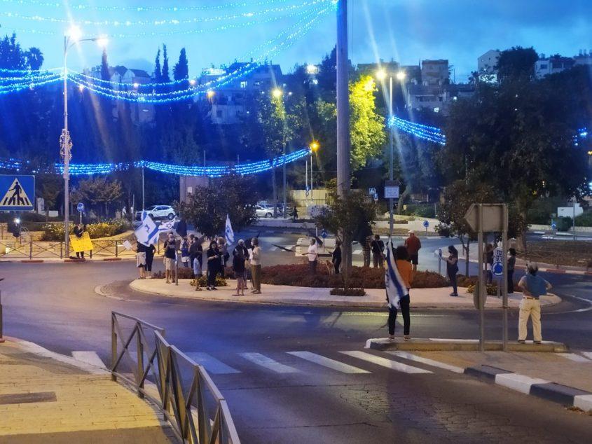 ההפגנה בגבעת משואה, הערב (צילום: שלומי הלר)