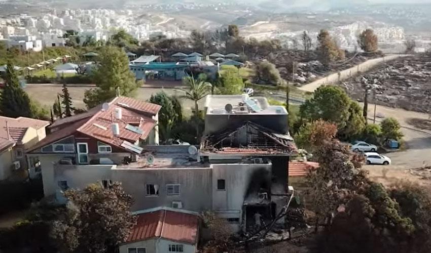 הבית של משפחת דוויק-כהן, שעלה באש בשריפת הענק (צילום: מתוך סרטון קמפיין לגיוס המונים)