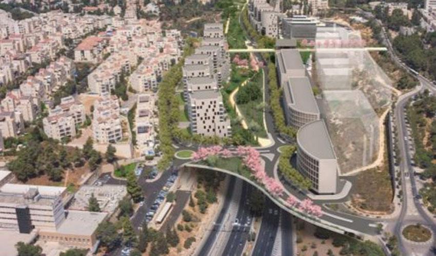 הדמיית תוכנית כפר ההייטק והמגורים מעל כביש בגין (הדמיה: דגן פתרונות ויזואליים מתקדמים)