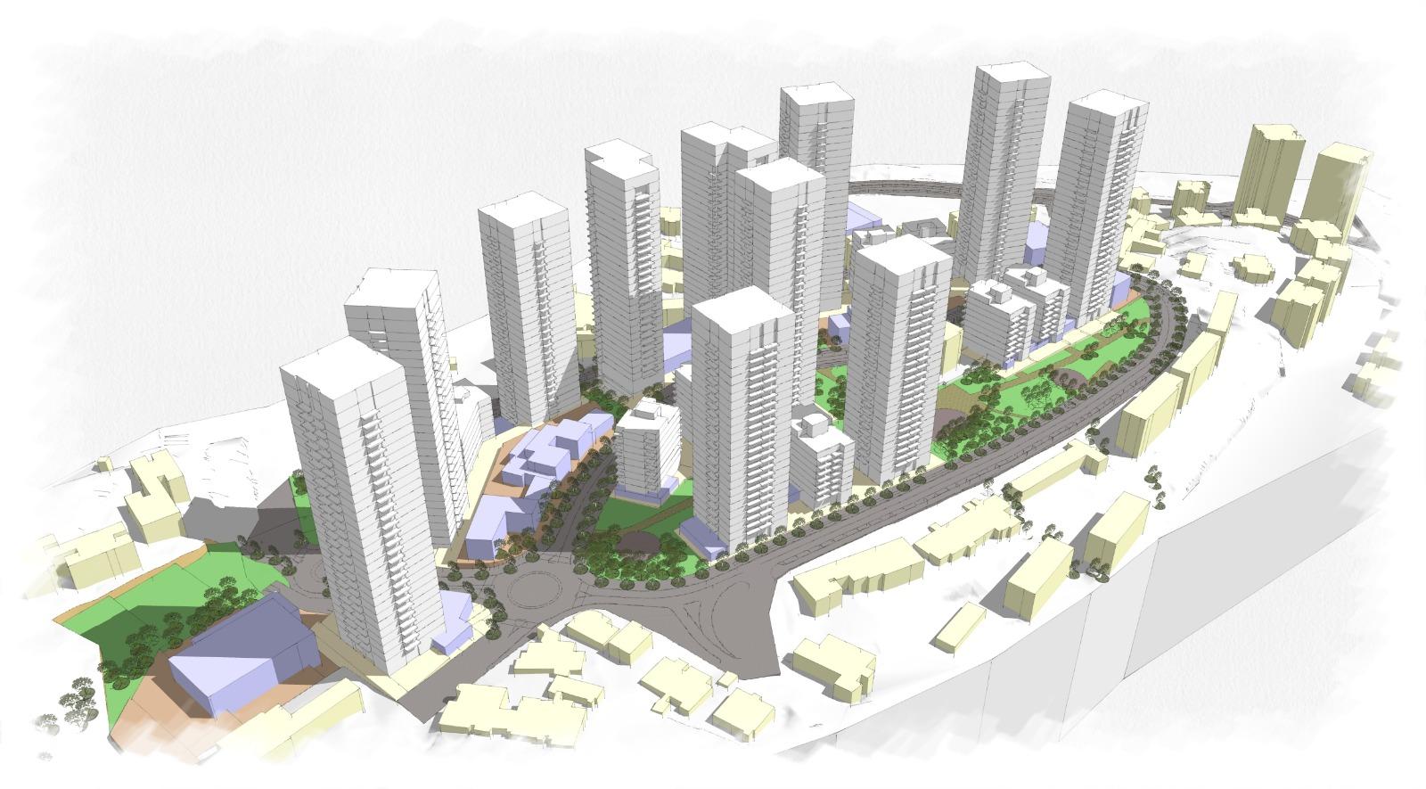 תוכנית הבנייה ברחוב הנורית בקרית מנחם (הדמיה: ארי כהן)