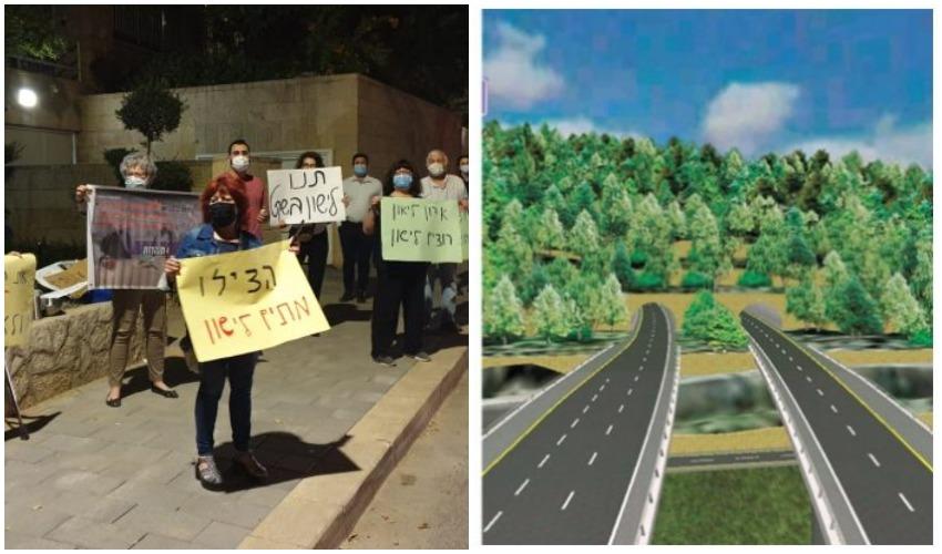 הדמיה של כביש 16, הפגנת תושבי יפה נוף נגד מפגעי הרעש מול ביתו של ראש העיר משה ליאון (צילומים: נתיבי ישראל, פרטי)