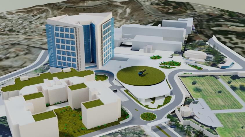 התוכנית להרחבת בית החולים הדסה הר הצופים (הדמיה: ספקטור עמישר אדריכלים)