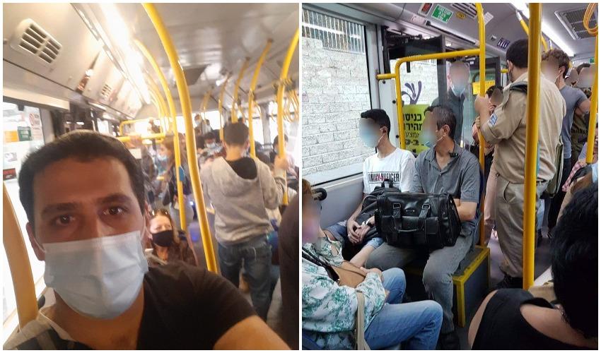 עומסים באוטובוסים בירושלים בעת משבר הקורונה (צילומים: פרטי)