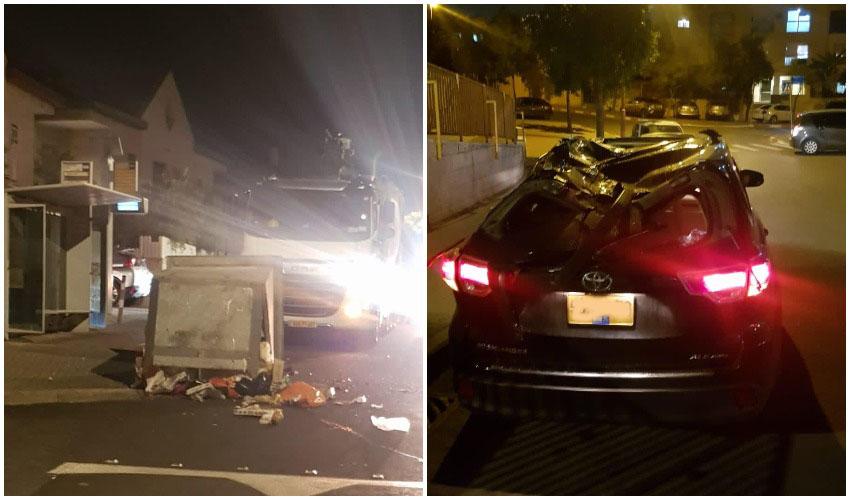 הרכב שנפגע ממכל אשפה בפסגת זאב