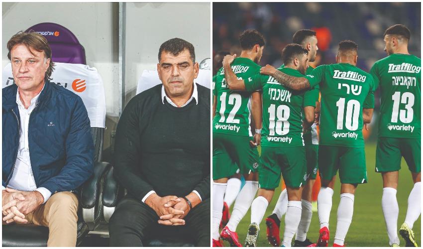שחקני מכבי חיפה, שי ברדה וסלובודאן דראפיץ' (צילומים: ניר קידר)