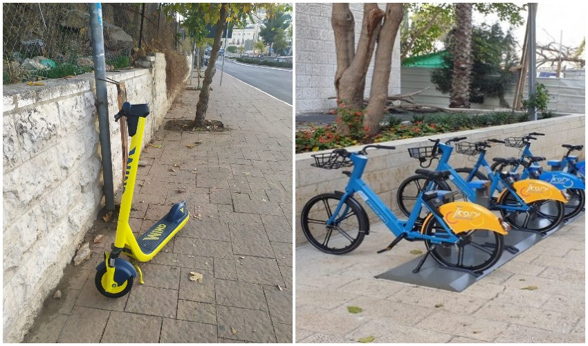 עמדה להשכרת אופניים בכיכר ספרא, קורקינט שיתופי בהר חוצבים (צילום: דוברות עיריית ירושלים, שלומי הלר)