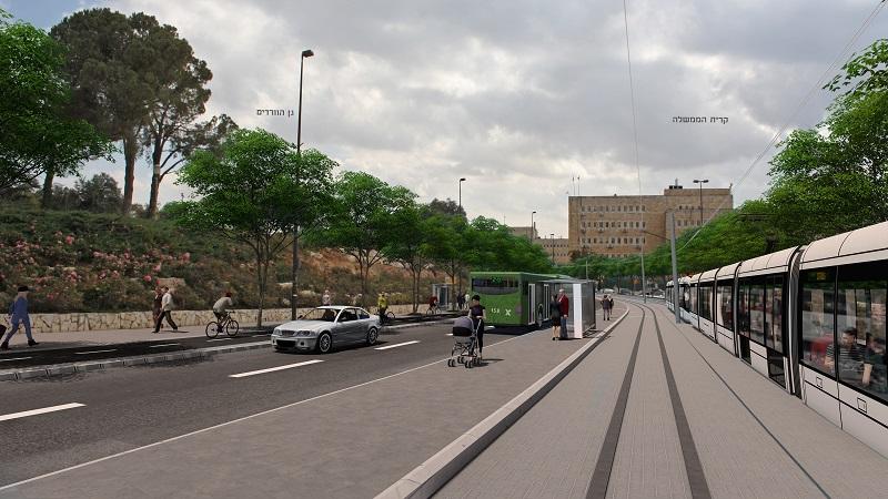הקו הזהוב ברחוב זוסמן (הדמיה: תוכנית אב לתחבורה ירושלים)