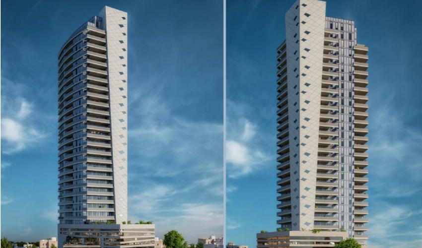 """הדמיה של המגדל החדש במרכז המסחרי בגבעה הצרפתית (הדמיה: דלה פרגולה אדריכלים בע""""מ)"""