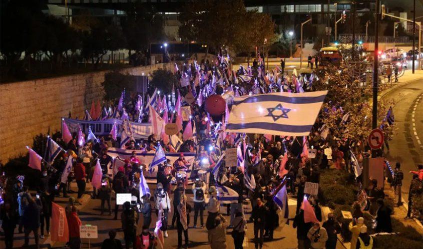 הצעדה מחניון הלאום לבלפור (צילום: אמיל סלמן)