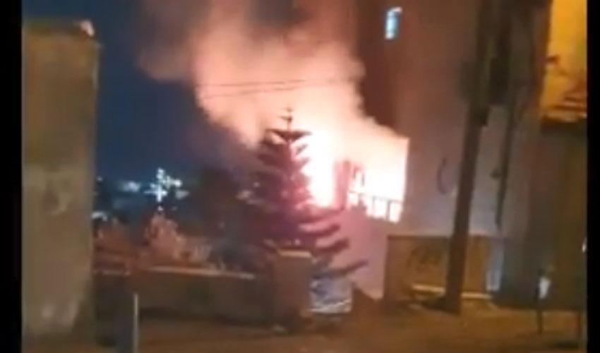 ההתפרעויות הלילה בא-טור (צילום: דוברות כבאות והצלה ירושלים)
