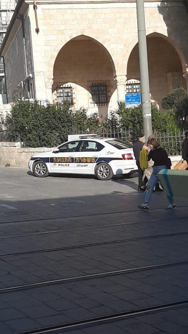 ניידת משטרה חונה על מדרכה ומעבר להולכי רגל (צילום: פרטי)