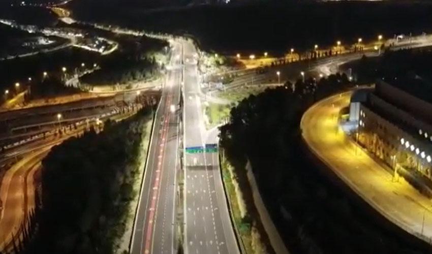 מתוך סרטון מחלקת המאור של החלפת תאורת ה-LED (צילום: מחלקת המאור - עיריית ירושלים)