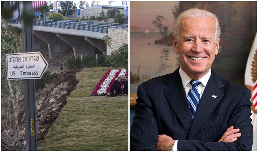"""ג'ו ביידן, הנשיא ה-46 של ארה""""ב, סמוך לשגרירות ארה""""ב בירושלים (צילומים: Official White House Photo by David Lienemann,אוליבייה פיטוסי)"""
