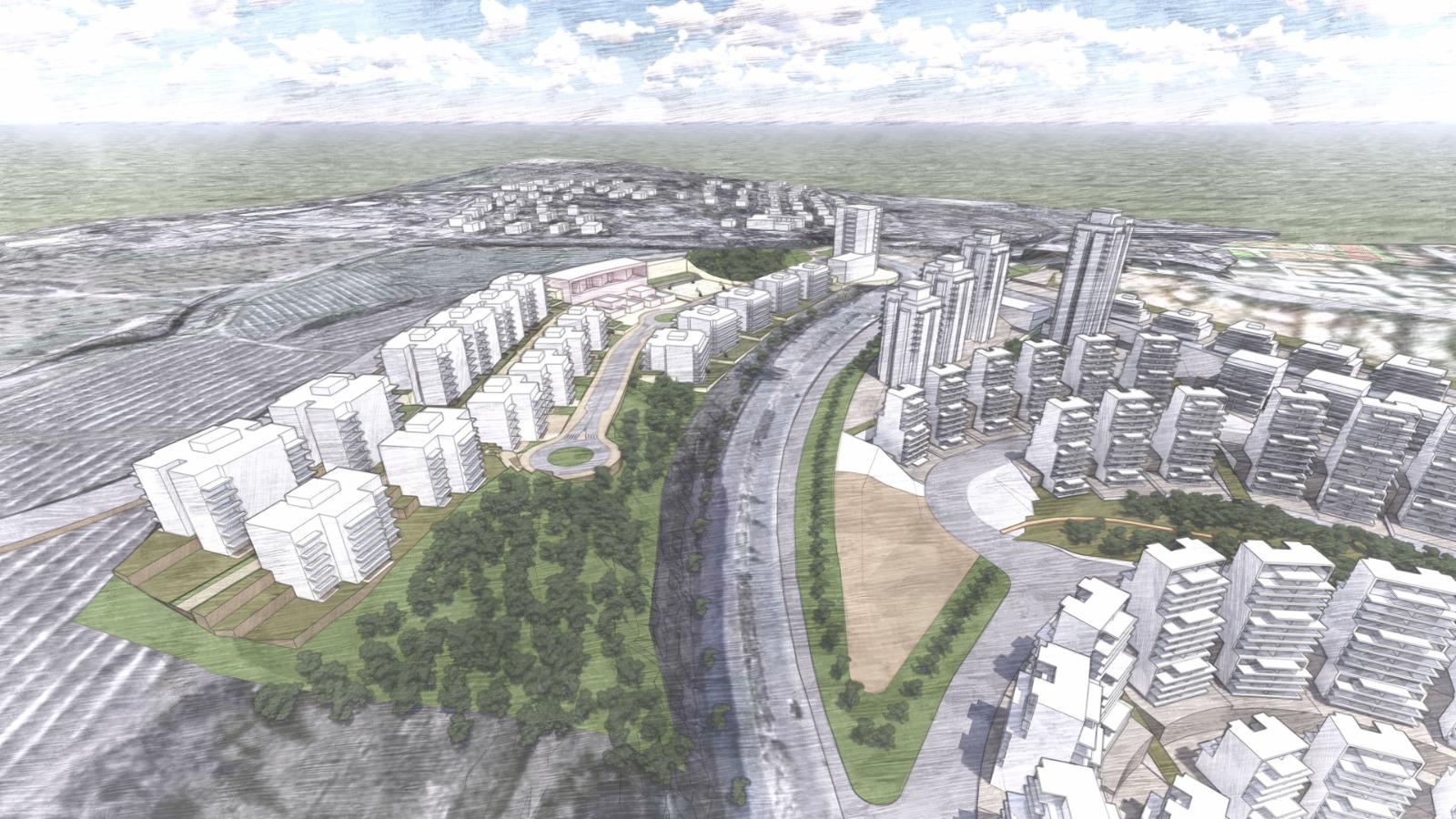 תוכנית ההרחבה של שכונת ארנונה (הדמיה: אדריכל ארי כהן)