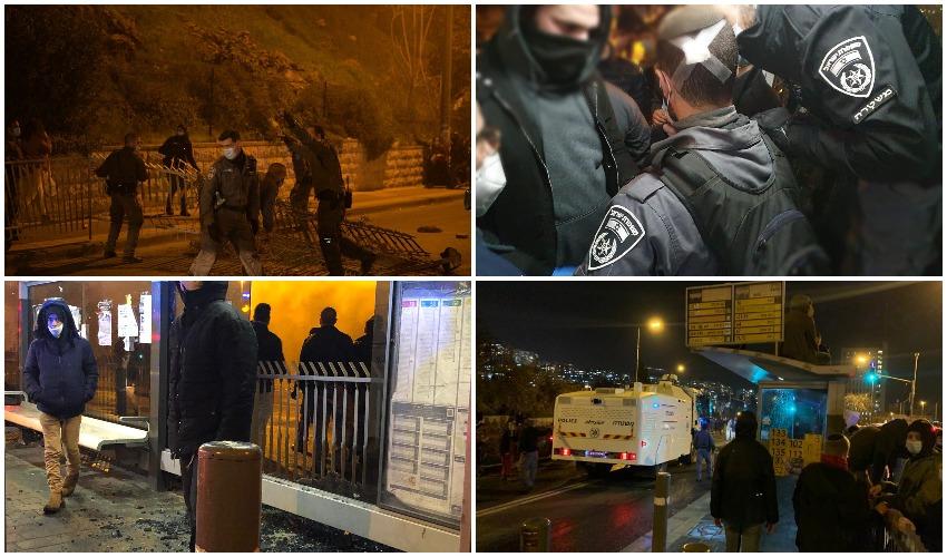 """ההפגנה מול משרדי מח""""ש בירושלים (צילום: דוברות המשטרה)"""