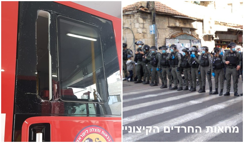 כוחות המשטרה הבוקר במאה שערים, הכבאית שניזוקה (צילומים: מחאות החרדים הקיצוניים, דוברות כבאות והצלה ירושלים)