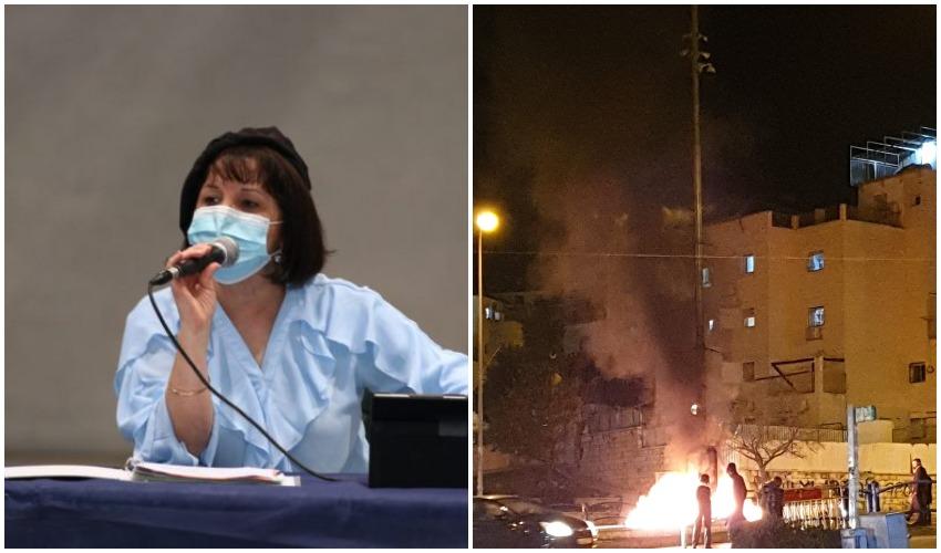 הצתת מצלמות אבטחה בשכונת רמת בית שמש ב', ראש העיר עליזה בלוך (צילומים: מחאות החרדים הקיצוניים, רווח הפקות)