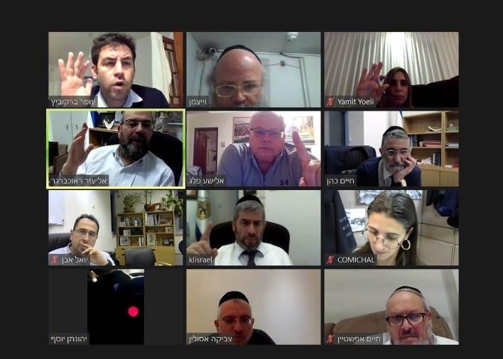 """חברי הוועדה המקומית בהצבעה על אישור פרויקט """"הדסה הקטנה"""" (צילום מסך)"""