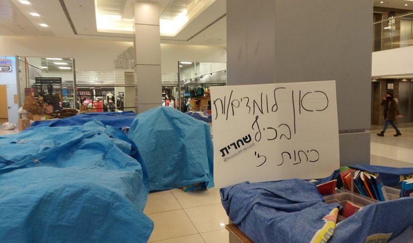 שלט המחאה של תלמידי שכבה ז', היום בקניון הדר (צילום: תיכון שחרית)