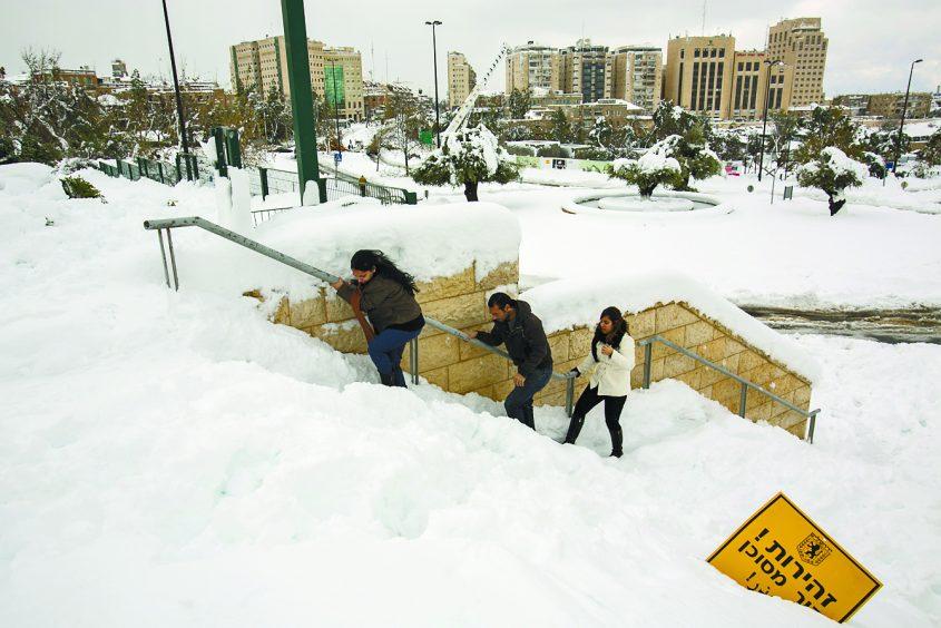 סופת השלג הגדולה ב-2013 (צילום: אוליבייה פיטוסי)