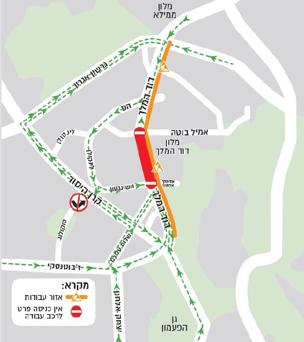 מפת החסימות ברחוב דוד המלך (צילום: באדיבות חברת מוריה)